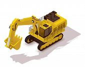 stock photo of excavator  - Isometric icon representing heavy yellow excavator - JPG