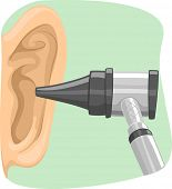 pic of otoscope  - Illustration of an Otoscope Being Used to Inspect an Ear - JPG