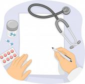 foto of prescription pad  - Illustration of a Doctor Writing Notes on a Prescription Pad - JPG