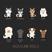 stock photo of toy dogs  - Set of russian dogs eps10 vector format - JPG