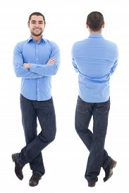 picture of arab man  - front and back view of young arabic business man in blue shirt isolated on white background - JPG