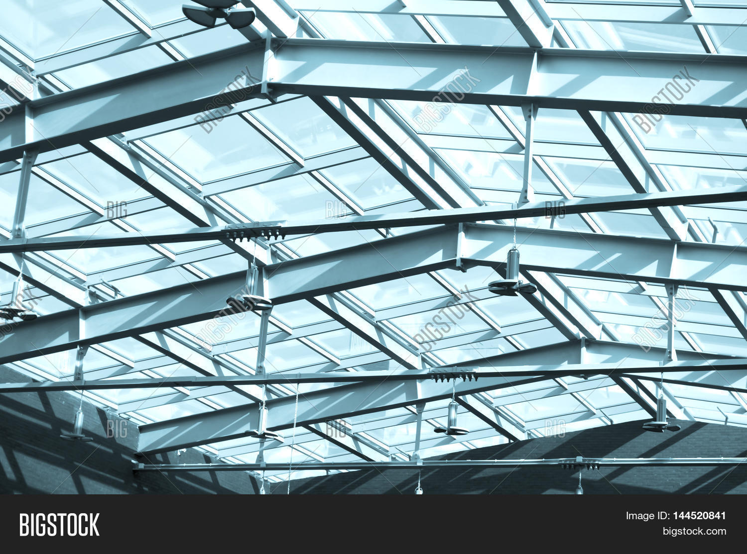 Glass Roof In Building Under The Roof Glass And Metal
