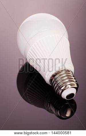 Led Lightbulb On Glass
