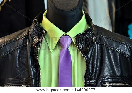Leather jacket on Shop Mannequin with shirt and tie