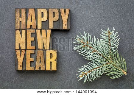 Happy New Year! - word abstract in vintage letterpress wood type blocks on a slate stone with a branch of Colorado blue spruce