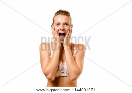 Attractive Woman Screaming With Hands To Her Face