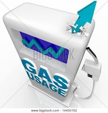 Uso de combustible - flecha en la bomba de gasolina y gas