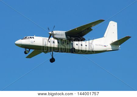 ST. PETERSBURG, RUSSIA - AUGUST 21, 2015: Plane An-24RV (RA-47800) airlines Pskov-Avia