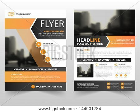 Orange black business Brochure Leaflet Flyer annual report template design book cover layout design abstract business presentation template a4 size design