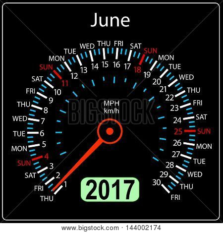 year 2017 calendar speedometer car in vector. June.