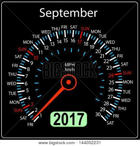 year 2017 calendar speedometer car in vector. September.