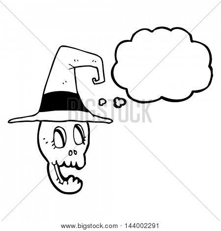 freehand drawn thought bubble cartoon skull wearing witch hat