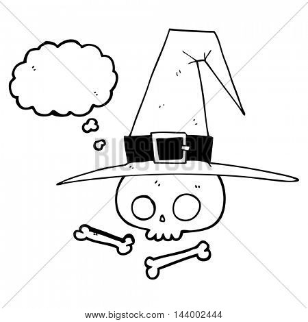 freehand drawn thought bubble cartoon witch hat with skull