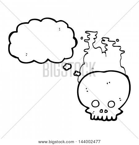 freehand drawn thought bubble cartoon steaming skull
