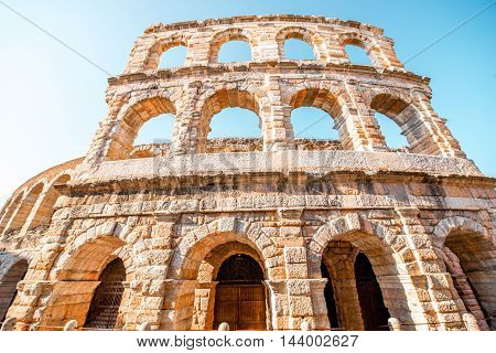 Architectural fragment of Arena in Verona city