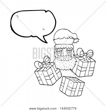 freehand drawn speech bubble cartoon tired santa claus face with presents