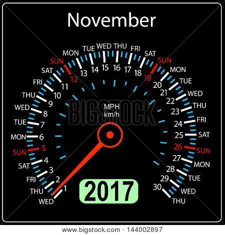 year 2017 calendar speedometer car in vector. November.