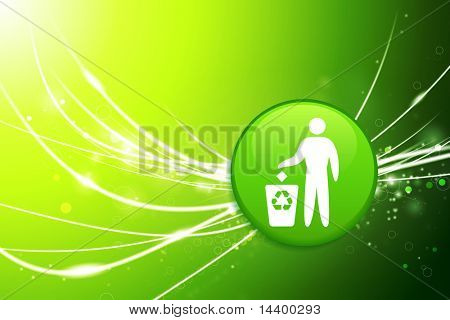 Recycle Button on Green Abstract Light Background Original Illustration