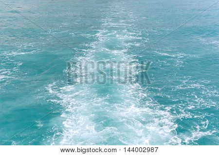 Wave Of A Passenger Ship Or Speed Boat On The Sea