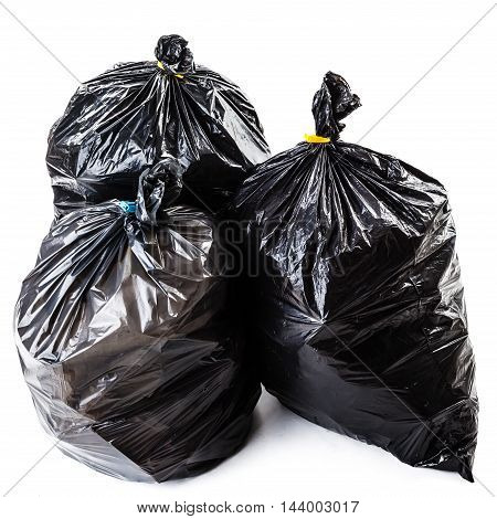 Black Garbage Bags Isolated