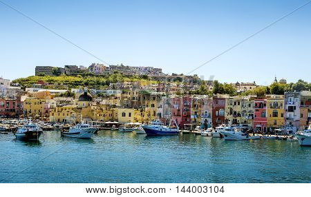 Marina Grande harbor on Procida island in Campania Italy