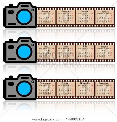 Stylish calendar for 2017. Camera with 35mm film. Sundays first.