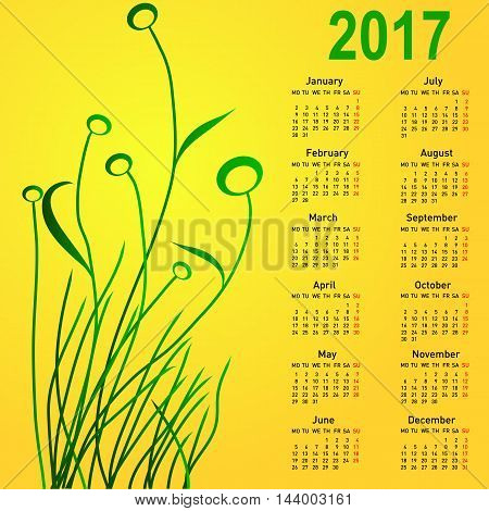 Stylish calendar with flowers for 2017. Week starts on Monday.