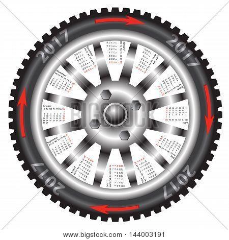 The Calendar 2017 year wheel black car
