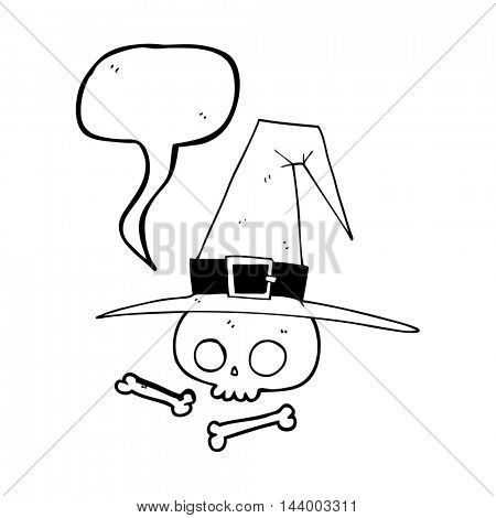 freehand drawn speech bubble cartoon witch hat with skull