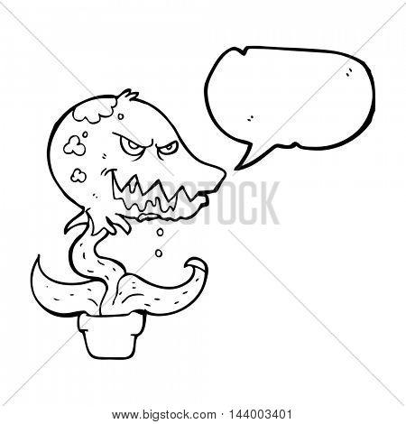 freehand drawn speech bubble cartoon monster plant
