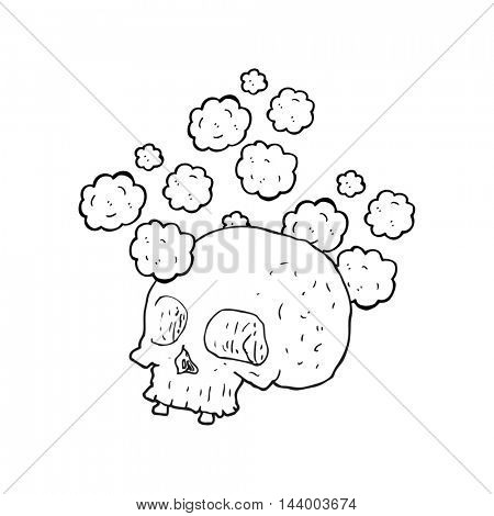 freehand drawn black and white cartoon old skull