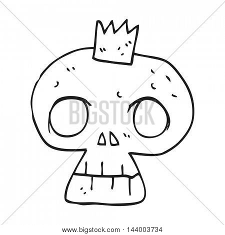 freehand drawn black and white cartoon skull with crown
