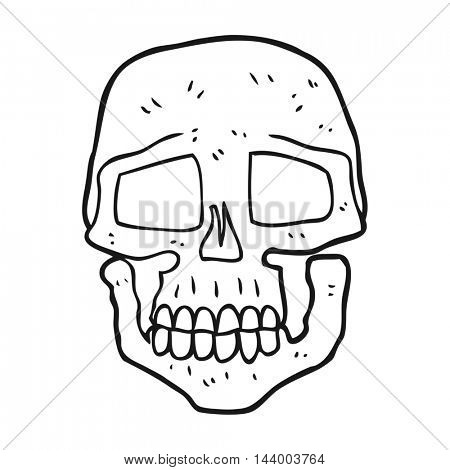 freehand drawn black and white cartoon skull