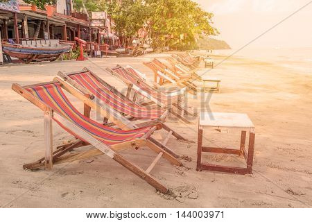 sunbed or chair on the tropical beach.