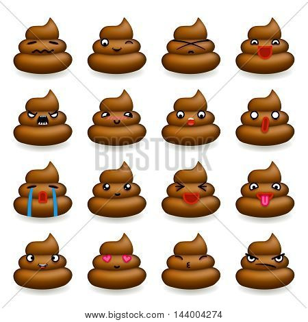Poops Avatar and Smile Emoticon Icons Set Isolated Flat Design Vector Illustration