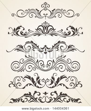Collection of vintage style flourishes elements for design. Vector set. Book design elements