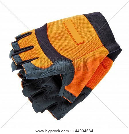 pair of new garden gloves isolated on white background