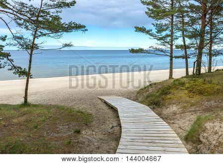 Wooden walkway in Jurmala - famous international resort in the Baltic region