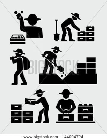 Farmers Harvesting Icons