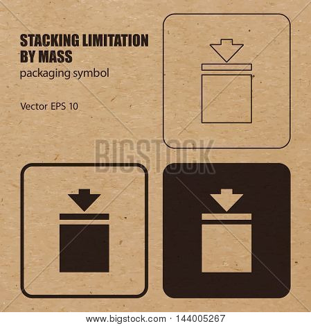 Stacking Limitation by Mass vector packaging symbol on vector cardboard background. Handling mark on craft paper background. Can be used on a box or packaging. Vector EPS 10.