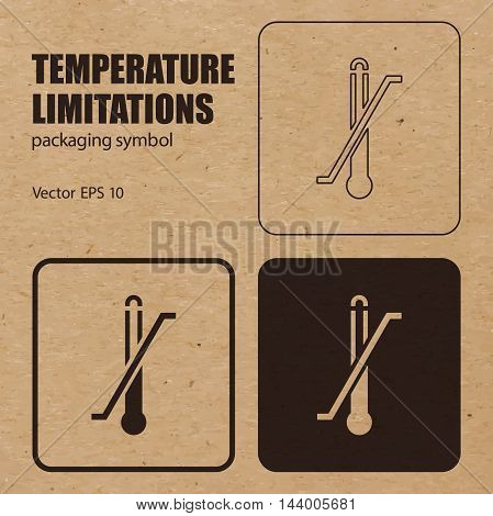 Temperature Limitations vector packaging symbol on vector cardboard background. Handling mark on craft paper background. Can be used on a box or packaging. Vector EPS 10.