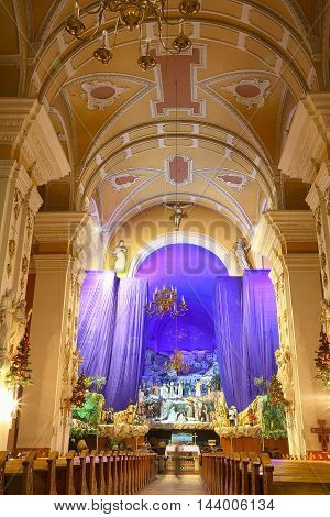 Christmas decoration in a church. Inside the church