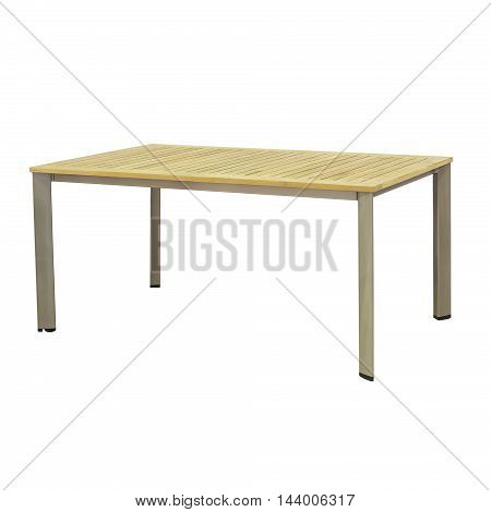 Wooden outdoor table isolated on a white background