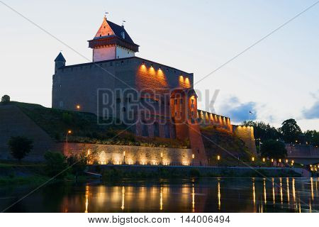 The old Herman's Castle close up the august night. Narva Estonia