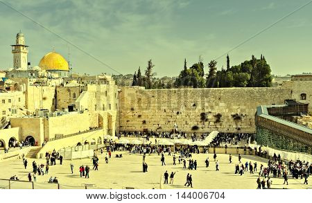 Western Wall in Jerusalem is a major Jewish sacred place. Image slightly toned for inspiration of vintage style