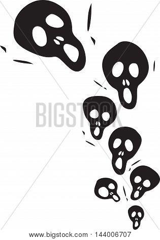 Scream Skulls cartoon on a white Background. vector illustration