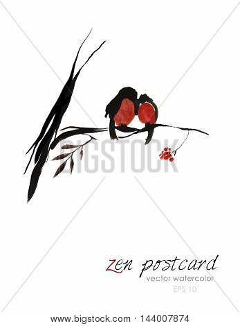 Chinese painting - zen-like natural hand-made vector watercolor illustration. Two red winter birds sitting on a rowan tree branch on white background.