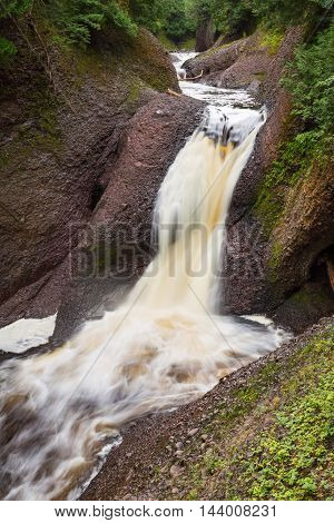 Gorge Falls along the Black River Scenic Byway in the Upper Peninsula of Michigan tumbles on its path to Lake Superior.