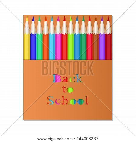 Box of colored pencils. The carved inscription Back to School. Packaging design pencils.