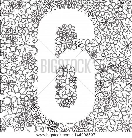 Vector number six made of black and white flowers.